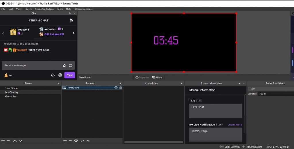 Timer for Twitch StreamElements OBS